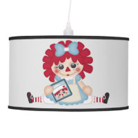 Adorable Girly Country Raggedy Rag Doll Hanging Lamp