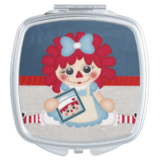 Adorable Girly Country Raggedy Rag Doll Mirror For Makeup