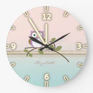 Adorable Girly Cute Owl,Personalized Large Clock