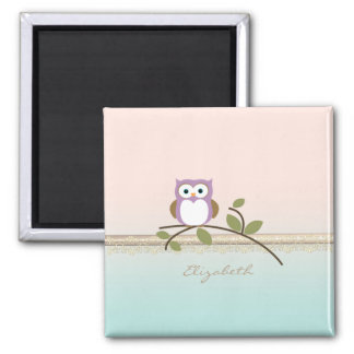 Adorable Girly Cute Owl,Personalized Magnet