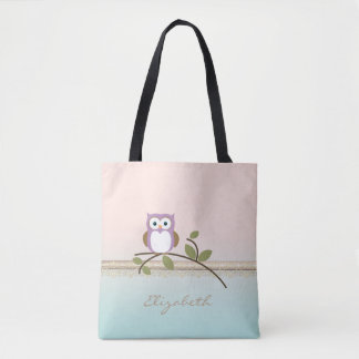 Adorable Girly Cute Owl,Personalized Tote Bag