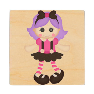 Adorable Girly Doll Wood Coaster