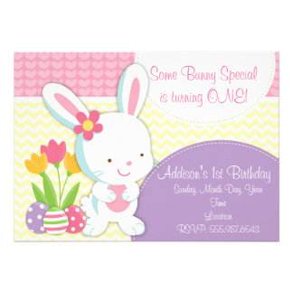 Adorable Girly Easter Bunny Birthday Invitation