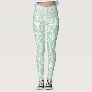 Adorable Girly  Mint Green Damask Pattern Leggings