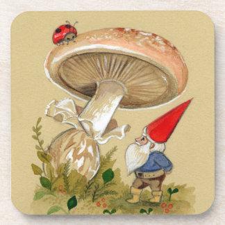 Adorable Gnome and ladybug Mushroom Coasters