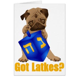 Adorable Got Latkes? Hankukkah Pug Puppy & Dreidel Card