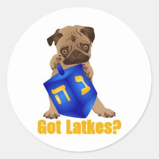 Adorable Got Latkes? Hankukkah Pug Puppy & Dreidel Round Stickers