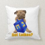 Adorable Got Latkes? Hankukkah Pug Puppy & Dreidel Pillow