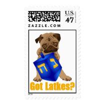 Adorable Got Latkes? Hankukkah Pug Puppy & Dreidel Postage