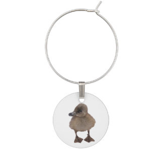 Adorable Gray Duckling Photograph Wine Charm