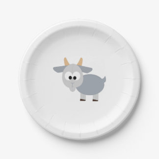 Adorable gray goat paper plate