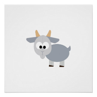 Adorable gray goat poster