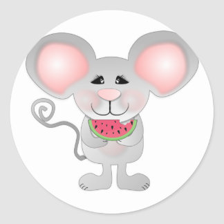 adorable gray mouse holding watermelon classic round sticker