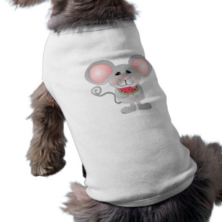 adorable gray mouse holding watermelon dog t shirt