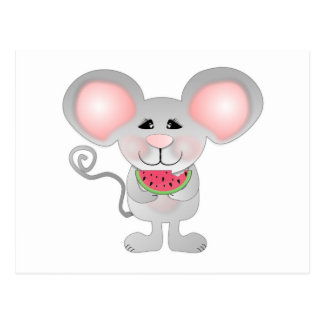 adorable gray mouse holding watermelon postcard
