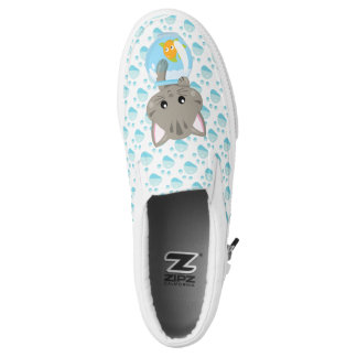 Adorable Gray Tabby Kitten with Fish Bowl Slip-On Sneakers