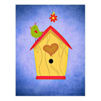 Adorable Green Bird Atop Birdhouse Postcard
