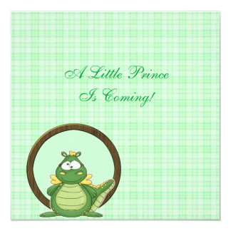 Adorable Green Dragon on Green Plaid Baby Shower 5.25x5.25 Square Paper Invitation Card