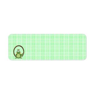 Adorable Green Dragon on Green Plaid Baby Shower Label