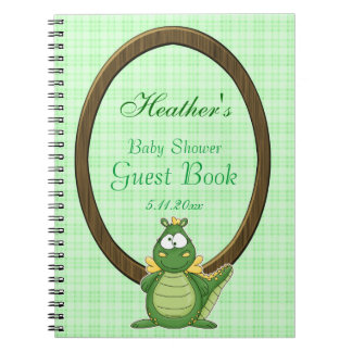 Adorable Green Dragon on Green Plaid Baby Shower Spiral Notebook