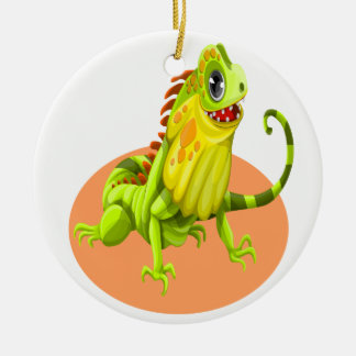 Adorable green happy nature iguana lizard ceramic ornament
