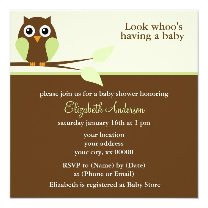 Adorable Green Owl Baby Shower Card