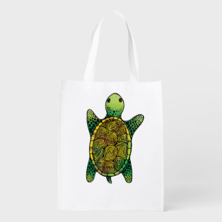 Adorable Green Watercolor Ink Drawn Turtle Reusable Grocery Bag