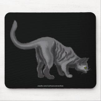 Adorable Grey Cat Cartoon Art Mouse Pad