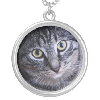 Adorable Grey Cat Face Round Pendant Necklace