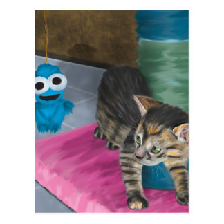 Adorable Grey Kitten Looking at a Blue Doll Postcard
