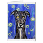 Adorable Greyhound portrait Greeting Cards