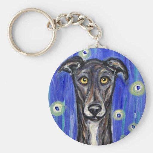 Adorable Greyhound portrait Keychains
