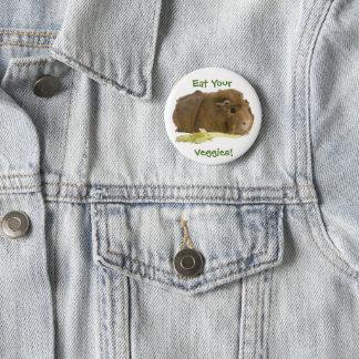 Adorable Guinea Pig Eating Celery Photography Button