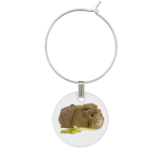 Adorable Guinea Pig Eating Celery Photography Wine Glass Charm