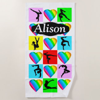 ADORABLE GYMNASTICS LOVE PERSONALIZED BEACH TOWEL