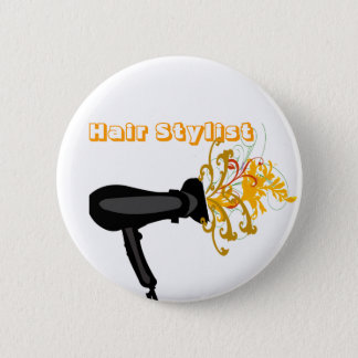 Adorable Hair Dryer  Flowers Bloosoms Pinback Button