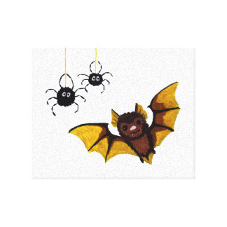 Adorable Halloween Brown Bat with 2 Fluffy Spiders Canvas Print