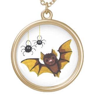 Adorable Halloween Brown Bat with 2 Fluffy Spiders Gold Plated Necklace