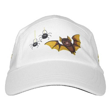 Halloween Themed Adorable Halloween Brown Bat with 2 Fluffy Spiders Headsweats Hat