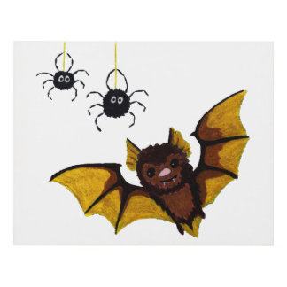 Adorable Halloween Brown Bat with 2 Fluffy Spiders Panel Wall Art