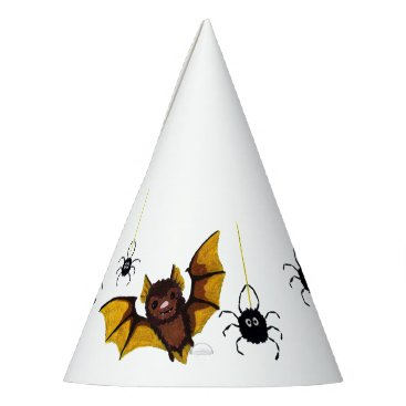 Halloween Themed Adorable Halloween Brown Bat with 2 Fluffy Spiders Party Hat