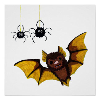 Adorable Halloween Brown Bat with 2 Fluffy Spiders Poster