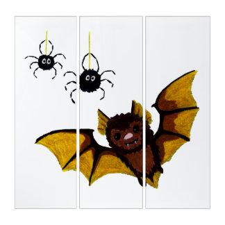 Adorable Halloween Brown Bat with 2 Fluffy Spiders Triptych