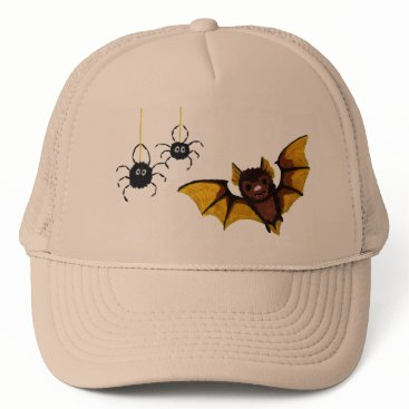 Halloween Themed Adorable Halloween Brown Bat with 2 Fluffy Spiders Trucker Hat