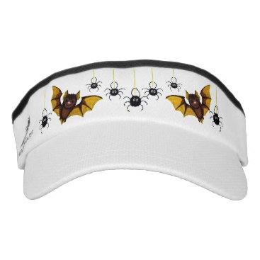 Halloween Themed Adorable Halloween Brown Bat with 2 Fluffy Spiders Visor