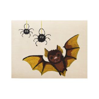 Adorable Halloween Brown Bat with 2 Fluffy Spiders Wood Poster