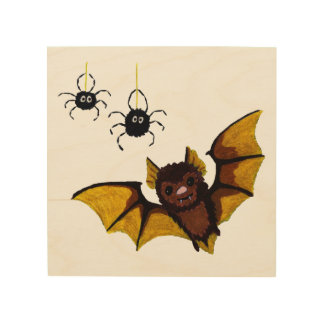 Adorable Halloween Brown Bat with 2 Fluffy Spiders Wood Wall Decor