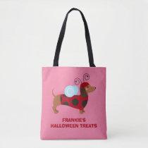 Adorable Halloween Dachshund Dog Ladybug Costume Tote Bag