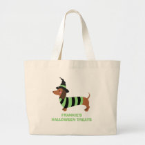 Adorable Halloween Dachshund Dog Witch Costume Large Tote Bag