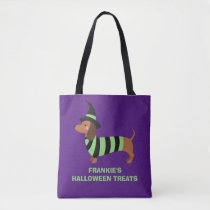 Adorable Halloween Dachshund Dog Witch Costume Tote Bag